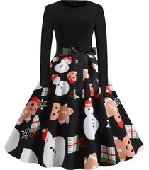 belted long sleeve christmas santa claus snowflake snowman dress