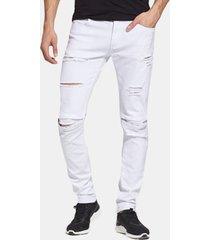 matita moda casual pantaloni hip-hop jeans per uomo tinta unita patchwork strappato al ginocchio
