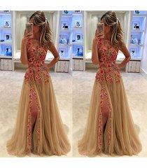 2017 popular sleeveless floral embroidery dress women fashion long sexy maxi pro