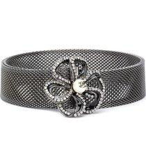 chanel pre-owned 2005 crystal-embellished camelia belt - silver