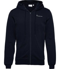 elm knowledge hood zip sweat - gots hoodie trui blauw knowledge cotton apparel