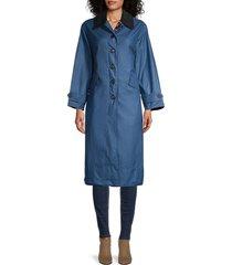 barbour women's maisie waxed coat - blue - size 10