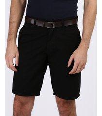 bermuda de sarja masculina casual com cinto preta