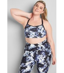 lane bryant women's livi low-impact no-wire sport bra with wicking - strappy back 22/24 abstract navy print