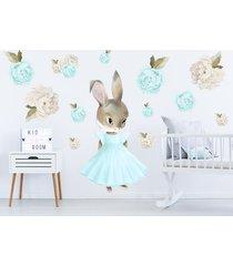 miętowy króliczek piwonie naklejka na ścianę