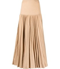 joseph pleated maxi skirt - brown
