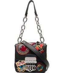dsquared2 patchwork shoulder bag - black