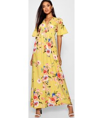 cap sleeve shirred waist floral maxi dress, mustard