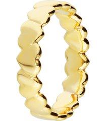anello placcato oro con fascia di cuoricini per donna