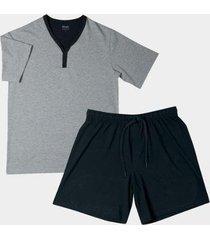 conjunto pijama mash manga curta algodão masculino - masculino