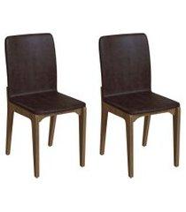 conjunto com 2 cadeiras darwin tabaco e freijó