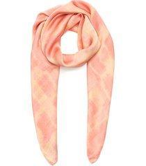abstract check print silk scarf