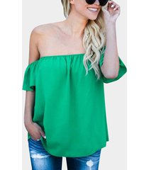 blusas sueltas con mangas acampanadas y hombros descubiertos sexy verde