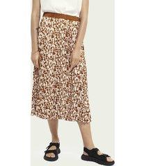 scotch & soda printed plisse midi skirt