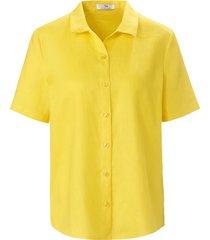 blouse 100% linnen korte mouwen van peter hahn geel