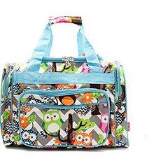 owl chevron stripe canvas duffel weekender bag carry on luggage blue)