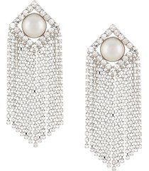alessandra rich oversized crystal-drop clip-on earrings - silver