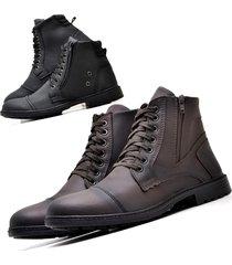 kit 02 pares de bota coturno  juilli r501l marrom/café e r502 preto