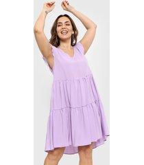 vestido lila vindaloo frunces