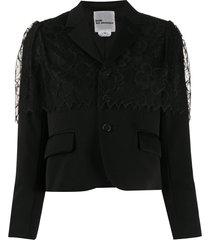 comme des garçons noir kei ninomiya lace-overlay cropped jacket -