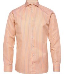 slim fit business casual cotton/linen twill shirt overhemd business oranje eton