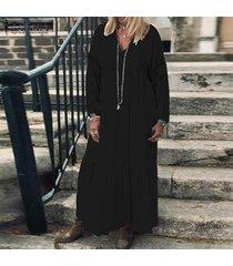 zanzea vestido largo largo de corte bajo para mujer vestido de camisa de playa de verano de ganchillo ahuecado -negro