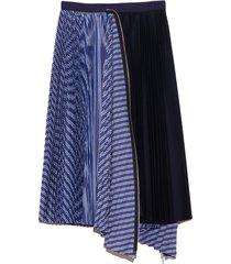 cotton poplin zipper skirt in random stripe