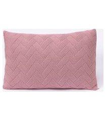 capa de almofada tricot 50x30 c/zíper sofa trico cod 106330 rosê