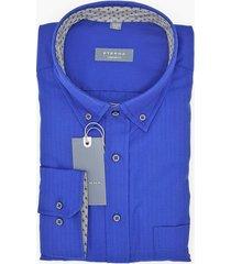 eterna heren overhemd herringbone contrast button-down comfort fit blauw