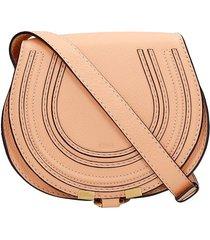 chloé mini marcie shoulder bag in orange leather