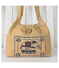 cotton shoulder bag, 'chic elephant' (thailand)