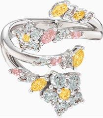 anello aperto botanical, multicolore chiaro, placcato rodio