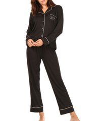 women's rae dunn sleep long sleeve notch collar pajama set