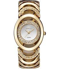 crrju donna orologio d'oro di quarzo e acciaio inossidabile di lusso con strass regalo per lei