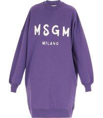 msgm brushed logo sweatshirt dress