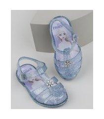 sandália infantil frozen com glitter azul