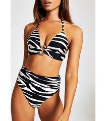 river island womens white zebra print high waist bikini bottoms