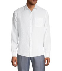 saks fifth avenue men's spread collar linen button-down shirt - red clay - size m
