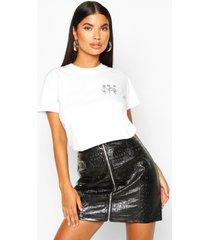 petite triple rose pocket print t-shirt, white