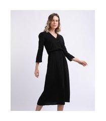 vestido feminino midi estampado manga 7/8 decote v preto