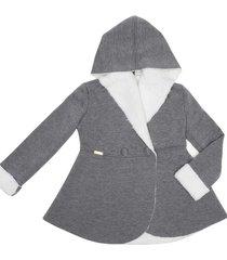 casaco leve forrado com capuz gingga baby e kids cinza claro