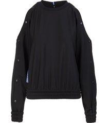 mcq alexander mcqueen woman black sweatshirt with off shoulders