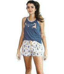 pijama calor babydoll short regata feminino - feminino