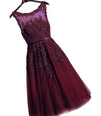 kivary tea length sheer bateau lace prom party homecoming dresses burgundy plus