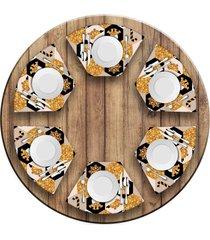 jogo americano love decor para mesa redonda wevans moderno natal kit com 6 pçs