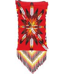 jessie western beaded fringes crossbody bag - red