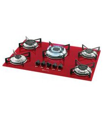 fogão cooktop 5 bocas mesa de vidro rouge bivolt 1743-15738 fischer