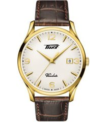 tissot heritage visodate leather strap watch, 40mm