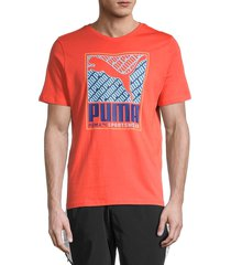 puma men's logo graphic short sleeve t-shirt - red - size xxl