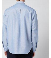 kenzo men's tiger crest oxford shirt - royal blue - 43/17.5